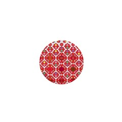 Plaid Red Star Flower Floral Fabric 1  Mini Buttons
