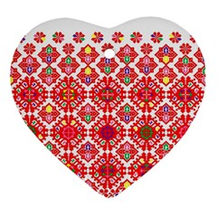 Plaid Red Star Flower Floral Fabric Ornament (heart)