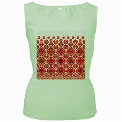 Plaid Red Star Flower Floral Fabric Women s Green Tank Top