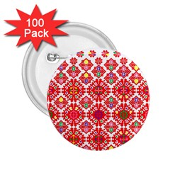 Plaid Red Star Flower Floral Fabric 2 25  Buttons (100 Pack)