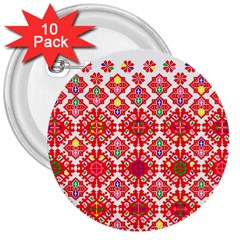 Plaid Red Star Flower Floral Fabric 3  Buttons (10 Pack)