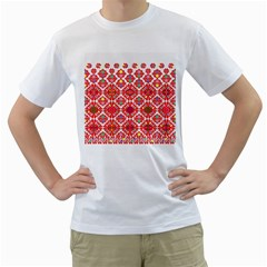 Plaid Red Star Flower Floral Fabric Men s T Shirt (white) (two Sided)