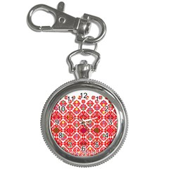 Plaid Red Star Flower Floral Fabric Key Chain Watches
