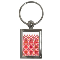 Plaid Red Star Flower Floral Fabric Key Chains (rectangle)