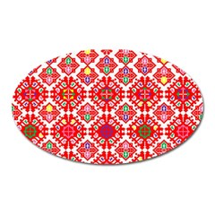 Plaid Red Star Flower Floral Fabric Oval Magnet