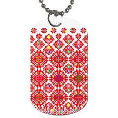Plaid Red Star Flower Floral Fabric Dog Tag (two Sides)