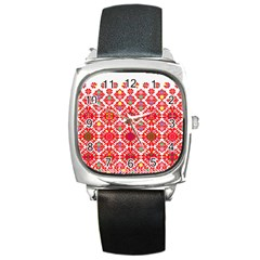 Plaid Red Star Flower Floral Fabric Square Metal Watch