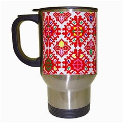 Plaid Red Star Flower Floral Fabric Travel Mugs (white)