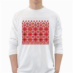 Plaid Red Star Flower Floral Fabric White Long Sleeve T Shirts