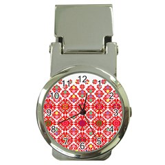 Plaid Red Star Flower Floral Fabric Money Clip Watches