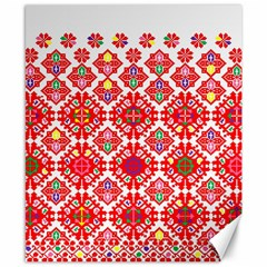 Plaid Red Star Flower Floral Fabric Canvas 8  X 10