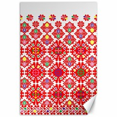 Plaid Red Star Flower Floral Fabric Canvas 12  X 18