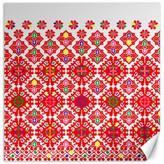 Plaid Red Star Flower Floral Fabric Canvas 16  X 16