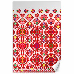 Plaid Red Star Flower Floral Fabric Canvas 24  X 36