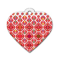 Plaid Red Star Flower Floral Fabric Dog Tag Heart (two Sides)