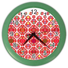 Plaid Red Star Flower Floral Fabric Color Wall Clocks