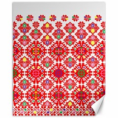 Plaid Red Star Flower Floral Fabric Canvas 11  X 14