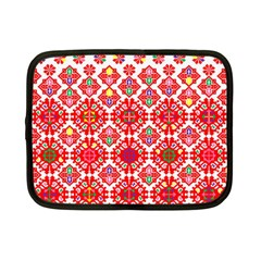 Plaid Red Star Flower Floral Fabric Netbook Case (small)