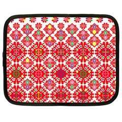 Plaid Red Star Flower Floral Fabric Netbook Case (large)