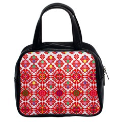Plaid Red Star Flower Floral Fabric Classic Handbags (2 Sides)