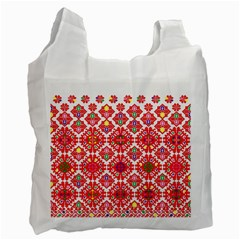 Plaid Red Star Flower Floral Fabric Recycle Bag (two Side)