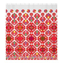 Plaid Red Star Flower Floral Fabric Shower Curtain 66  X 72  (large)