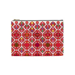 Plaid Red Star Flower Floral Fabric Cosmetic Bag (medium)