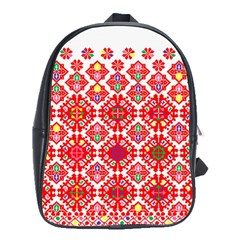 Plaid Red Star Flower Floral Fabric School Bag (large)