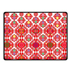 Plaid Red Star Flower Floral Fabric Fleece Blanket (small)