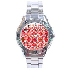 Plaid Red Star Flower Floral Fabric Stainless Steel Analogue Watch