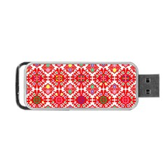Plaid Red Star Flower Floral Fabric Portable Usb Flash (two Sides)
