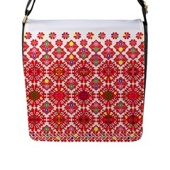 Plaid Red Star Flower Floral Fabric Flap Messenger Bag (l)