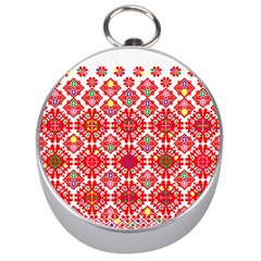 Plaid Red Star Flower Floral Fabric Silver Compasses