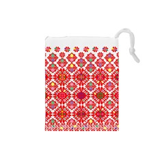 Plaid Red Star Flower Floral Fabric Drawstring Pouches (small)