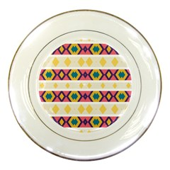 Rhombus And Stripes                            Porcelain Plate