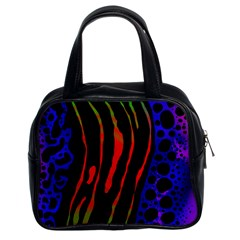 Frog Spectrum Polka Line Wave Rainbow Classic Handbags (2 Sides)