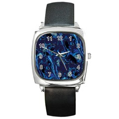 Pattern Butterfly Blue Stone Square Metal Watch