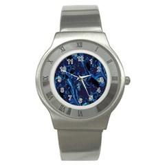 Pattern Butterfly Blue Stone Stainless Steel Watch
