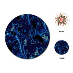Pattern Butterfly Blue Stone Playing Cards (round)