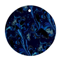 Pattern Butterfly Blue Stone Round Ornament (two Sides)