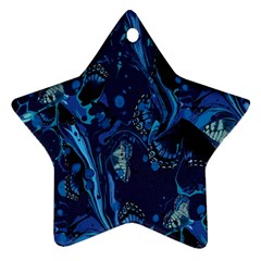 Pattern Butterfly Blue Stone Star Ornament (two Sides)