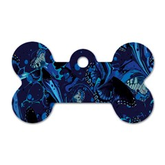 Pattern Butterfly Blue Stone Dog Tag Bone (one Side)