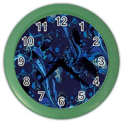 Pattern Butterfly Blue Stone Color Wall Clocks