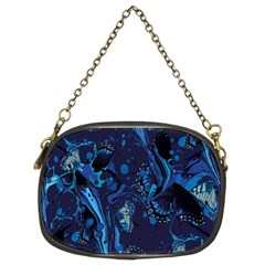 Pattern Butterfly Blue Stone Chain Purses (two Sides)