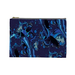 Pattern Butterfly Blue Stone Cosmetic Bag (large)