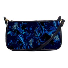 Pattern Butterfly Blue Stone Shoulder Clutch Bags