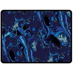 Pattern Butterfly Blue Stone Double Sided Fleece Blanket (large)