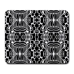 Psychedelic Pattern Flower Black Large Mousepads