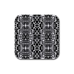 Psychedelic Pattern Flower Black Rubber Square Coaster (4 Pack)