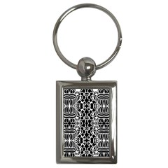 Psychedelic Pattern Flower Black Key Chains (rectangle)